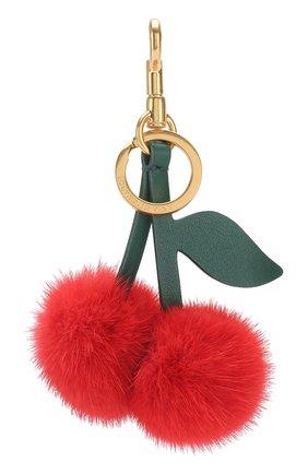Кожаный брелок Cherry с отделкой из меха Anya Hindmarch красный | Фото №1