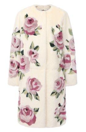 Женская шуба прямого кроя с цветочным принтом DOLCE & GABBANA белого цвета, арт. F0T92F/FUPLH | Фото 1
