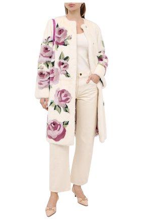 Женская шуба прямого кроя с цветочным принтом DOLCE & GABBANA белого цвета, арт. F0T92F/FUPLH | Фото 2