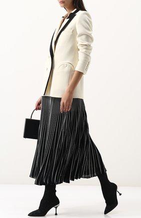 Текстильные ботильоны с глиттером на шпильке Miu Miu черные | Фото №1