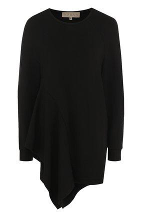Однотонный пуловер асимметричного кроя с круглым вырезом Ruban черный | Фото №1