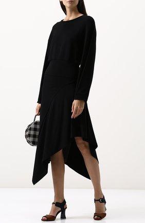 Однотонный пуловер с круглым вырезом Ruban черный | Фото №1