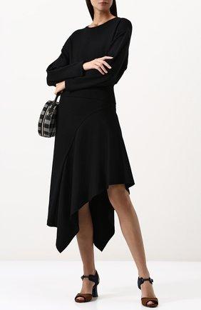 Однотонная юбка асимметричного кроя Ruban черные | Фото №1