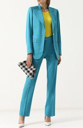 Женский однотонный жакет из смеси шерсти шелка и льна KITON бирюзового цвета, арт. D45547K06P03 | Фото 2