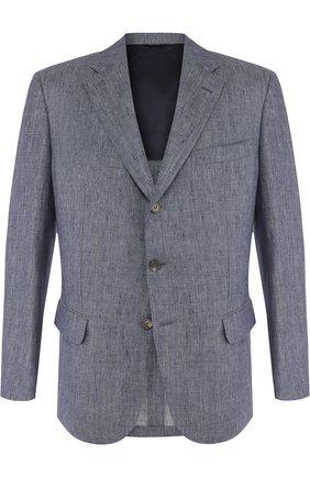 Мужской однобортный льняной пиджак LORO PIANA синего цвета, арт. FAI1563 | Фото 1