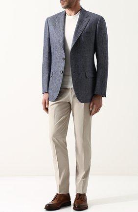 Мужской однобортный льняной пиджак LORO PIANA синего цвета, арт. FAI1563 | Фото 2