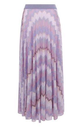 Вязаная юбка-миди с металлизированной нитью Missoni розовая   Фото №1