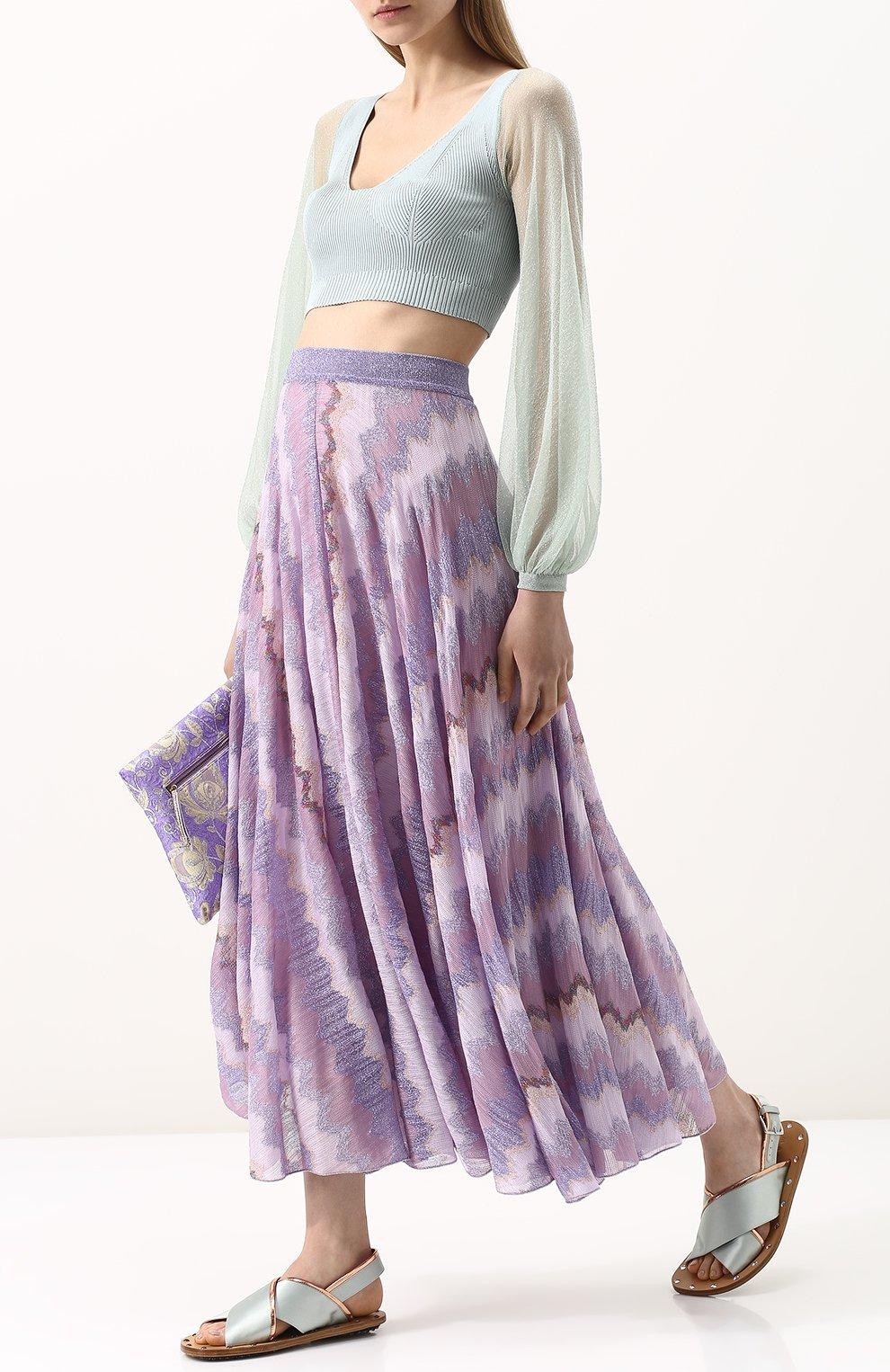 Вязаная юбка-миди с металлизированной нитью Missoni розовая   Фото №2