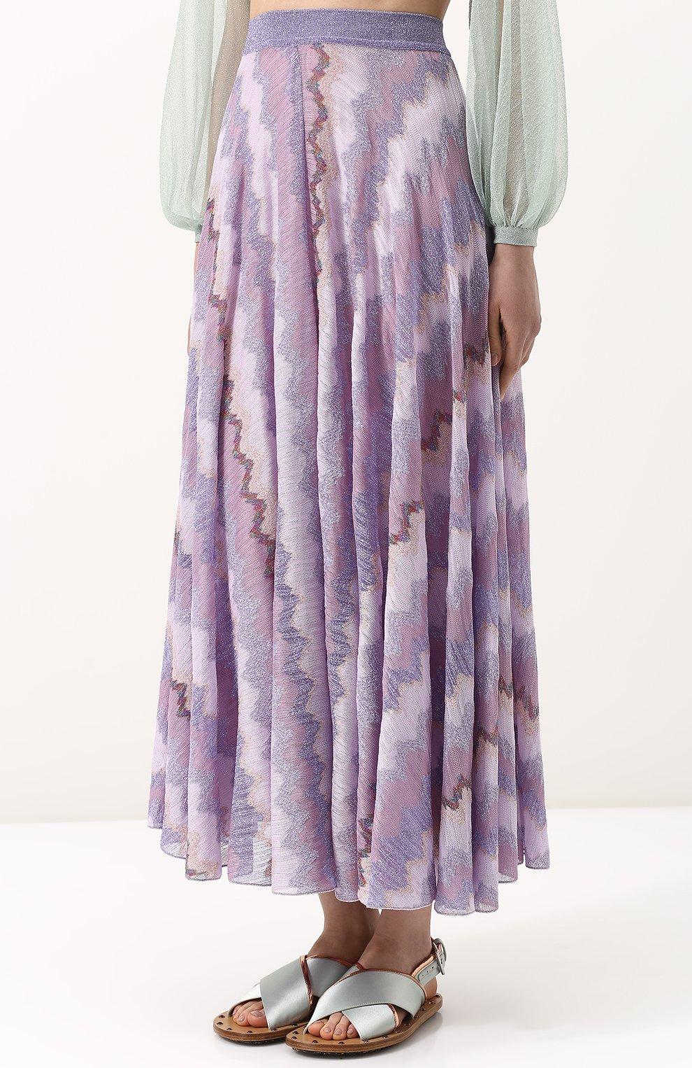 Вязаная юбка-миди с металлизированной нитью Missoni розовая   Фото №3