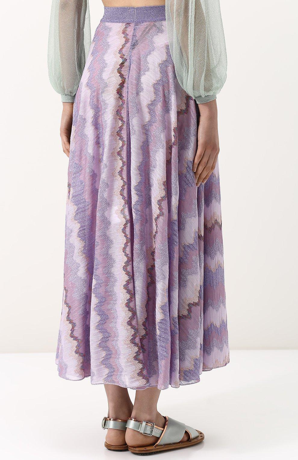 Вязаная юбка-миди с металлизированной нитью Missoni розовая   Фото №4