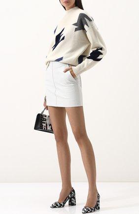 Текстильные туфли с принтом на устойчивом каблуке Miu Miu черные | Фото №1
