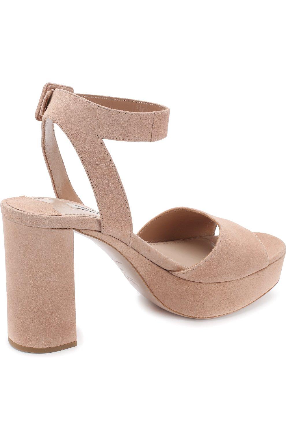 Женские бежевые замшевые босоножки на устойчивом каблуке MIU MIU ... 548a771f0a4