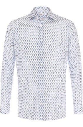 Мужская сорочка из смеси шелка и хлопка с воротником кент ZILLI белого цвета, арт. MFP-MERCU-54028/0001 | Фото 1