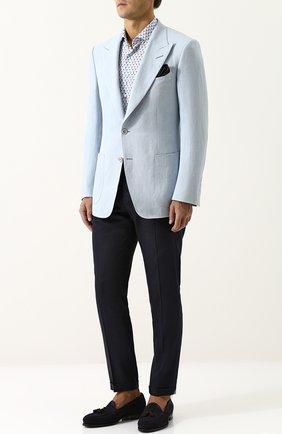 Мужская сорочка из смеси шелка и хлопка с воротником кент ZILLI белого цвета, арт. MFP-MERCU-54028/0001 | Фото 2