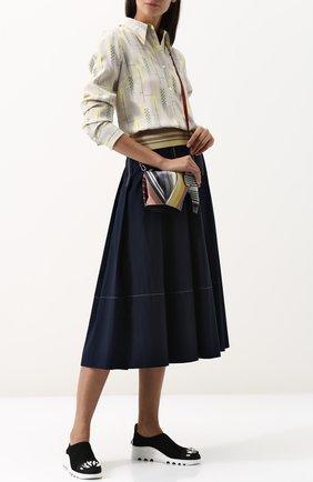 Текстильные кроссовки с отделкой кристаллами Miu Miu черные | Фото №1