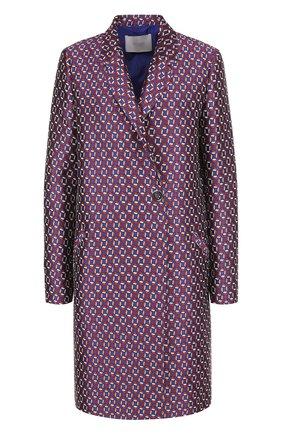 Пальто прямого кроя с принтом BOSS фиолетового цвета | Фото №1