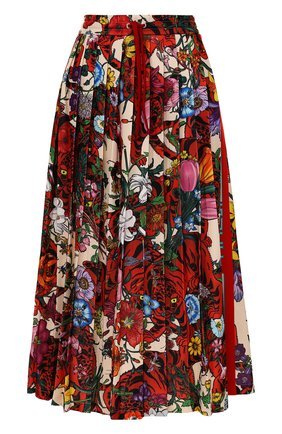 Женская юбка-миди с эластичным поясом и принтом GUCCI разноцветного цвета, арт. 479534/X9N76 | Фото 1