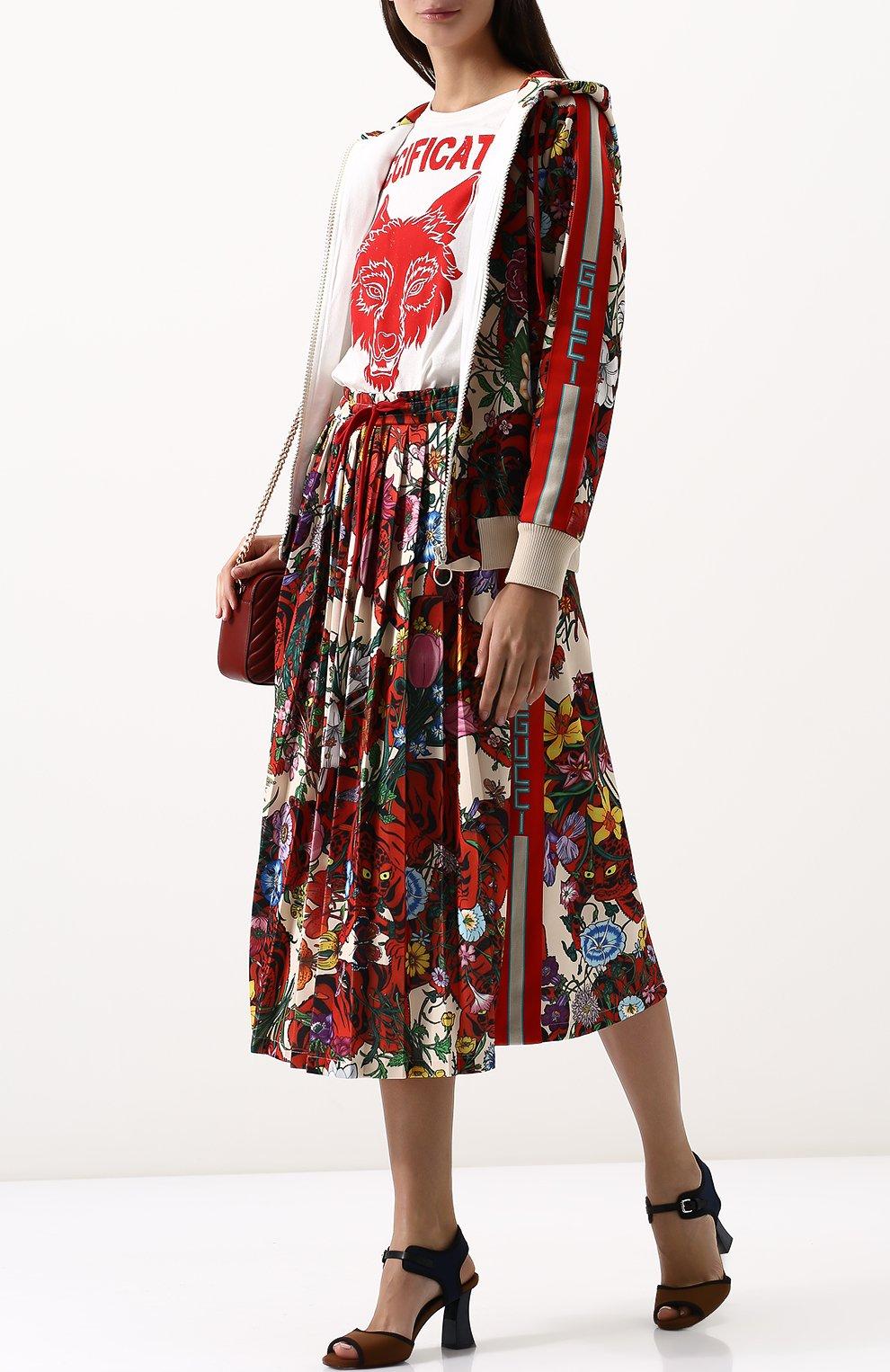 Женская юбка-миди с эластичным поясом и принтом GUCCI разноцветного цвета, арт. 479534/X9N76 | Фото 2