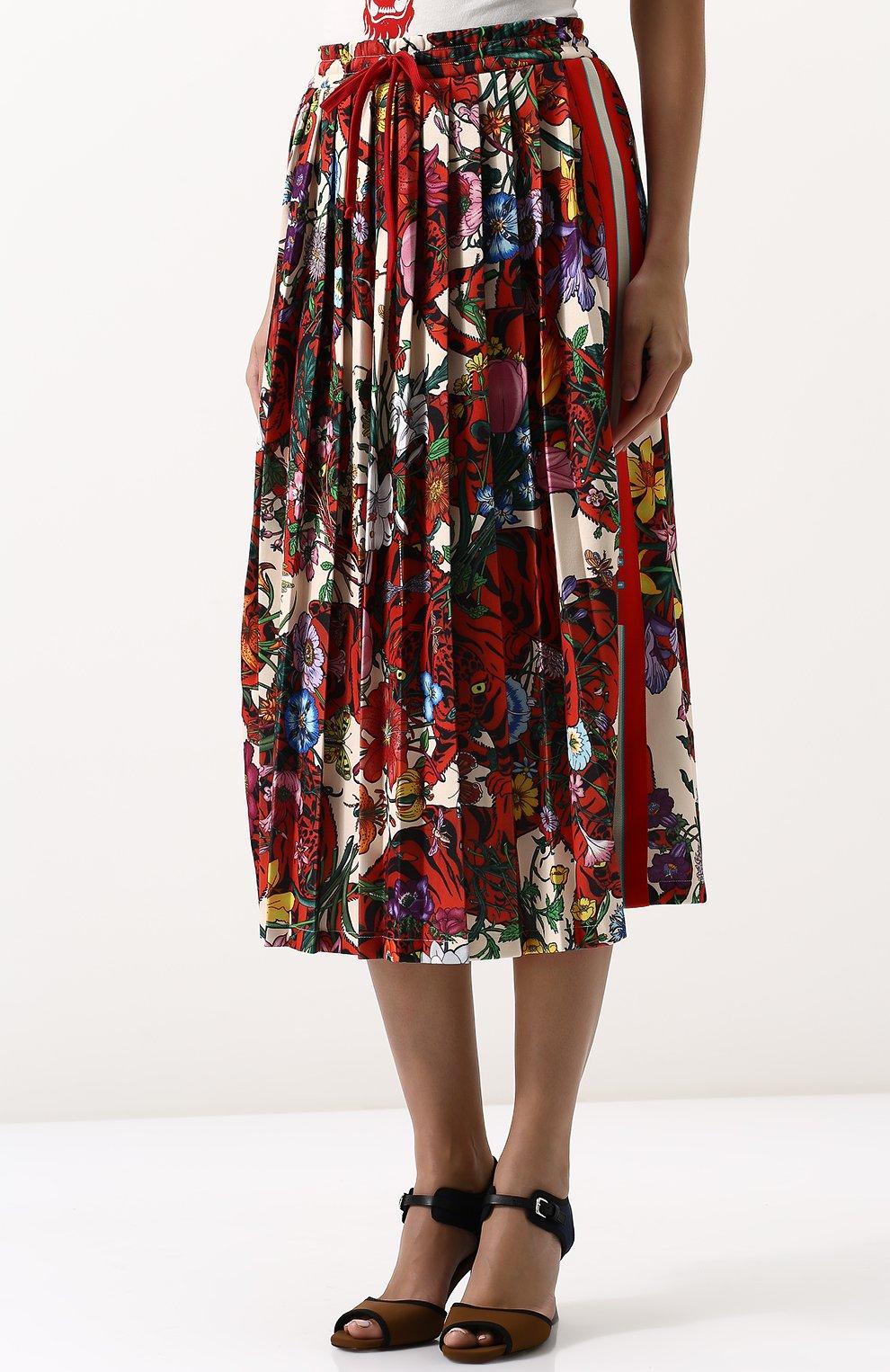 Женская юбка-миди с эластичным поясом и принтом GUCCI разноцветного цвета, арт. 479534/X9N76 | Фото 3