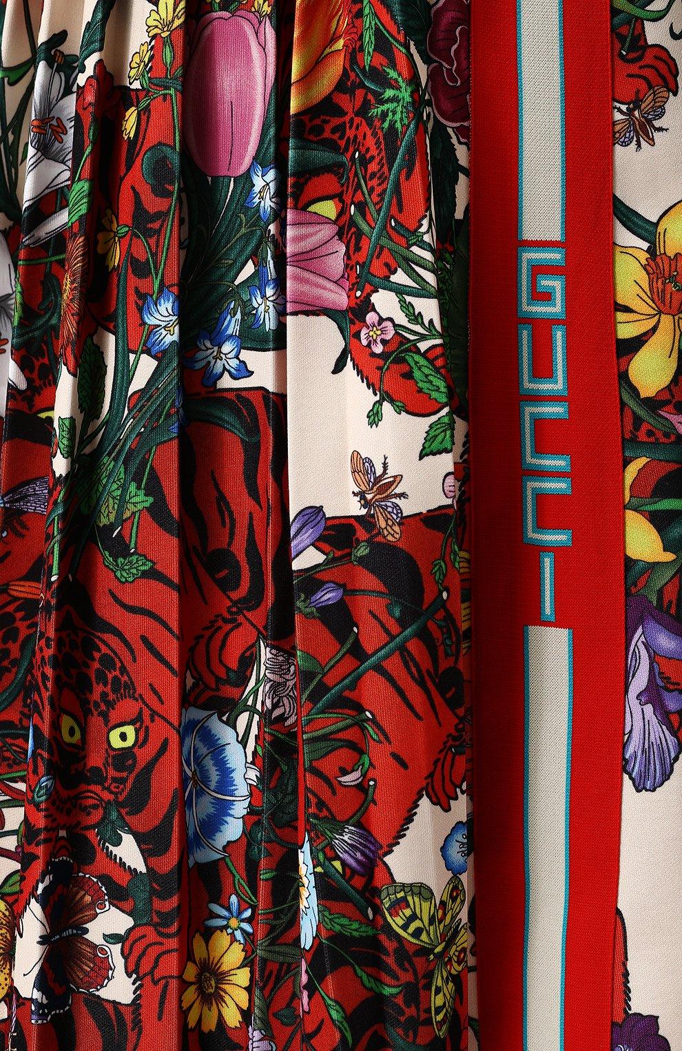 Женская юбка-миди с эластичным поясом и принтом GUCCI разноцветного цвета, арт. 479534/X9N76 | Фото 5