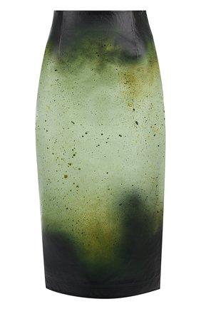 Кожаная юбка-миди с принтом | Фото №1