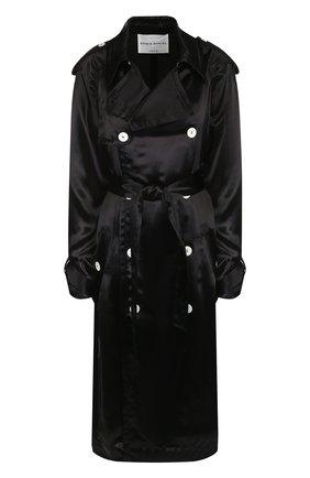 Однотонное пальто из вискозы с поясом | Фото №1
