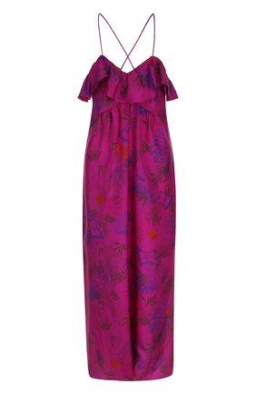 Хлопковое платье на тонких бретельках с оборками и принтом Zadig&Voltaire фуксия | Фото №1