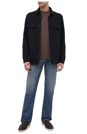 Мужские кожаные лоферы summer walk LORO PIANA темно-коричневого цвета, арт. FAF8272 | Фото 2 (Материал внутренний: Натуральная кожа; Статус проверки: Проверено; Стили: Кэжуэл)