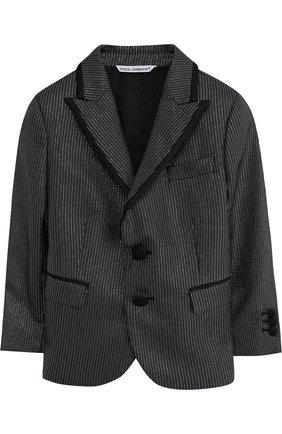 Пиджак на двух пуговицах с металлизированной отделкой | Фото №1
