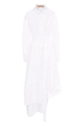 Платье-рубашка асимметричного кроя с поясом Ruban белое | Фото №1