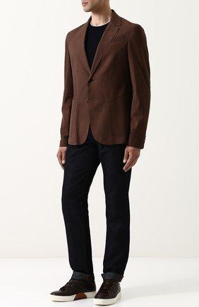Кожаные кеды с отделкой кожи аллигатора Zegna Couture темно-коричневые | Фото №1