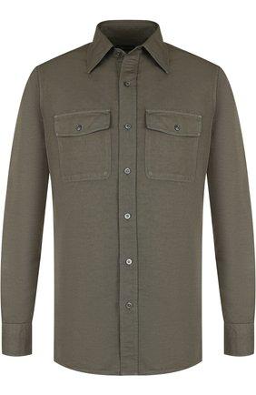 Мужская рубашка из смеси льна и хлопка TOM FORD оливкового цвета, арт. 3FT769/94PHRK | Фото 1