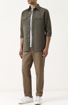 Мужская рубашка из смеси льна и хлопка TOM FORD оливкового цвета, арт. 3FT769/94PHRK | Фото 2