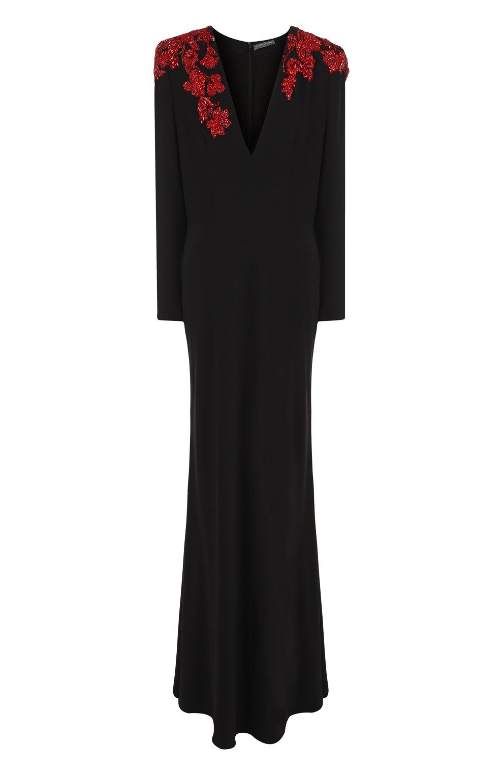 Однотонное платье-макси с V-образным вырезом и декорированной отделкой | Фото №1