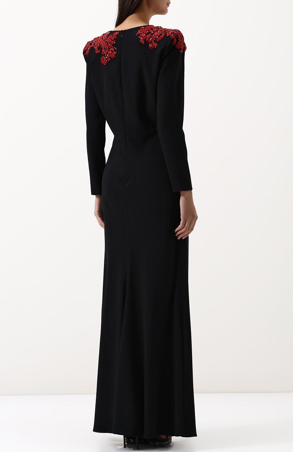 Однотонное платье-макси с V-образным вырезом и декорированной отделкой | Фото №4