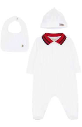 Детский комбинезон с шапкой и нагрудником GUCCI белого цвета, арт. 463438/X5Q23 | Фото 1