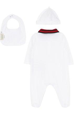 Детский комбинезон с шапкой и нагрудником GUCCI белого цвета, арт. 463438/X5Q23 | Фото 2