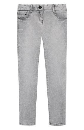 Детские джинсы с декоративными потертостями Karl Lagerfeld Kids серого цвета | Фото №1