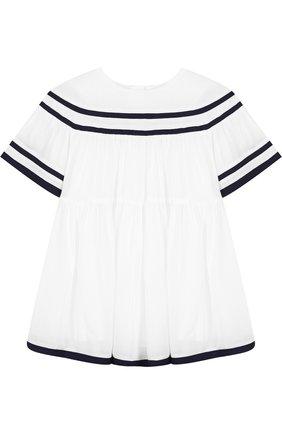 Платье свободного кроя с контрастной отделкой | Фото №1