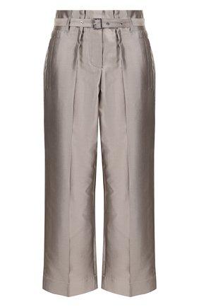 Укороченные брюки из смеси хлопка и шелка с поясом    Фото №1
