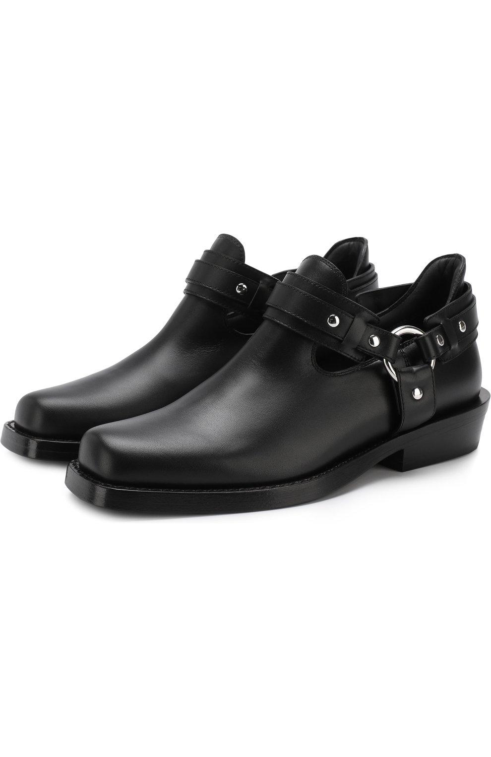 Женские кожаные ботинки с ремешками PACO RABANNE черного цвета, арт. 18PM0T0L03CAAFL   Фото 1 (Каблук высота: Низкий; Статус проверки: Проверено; Подошва: Плоская)