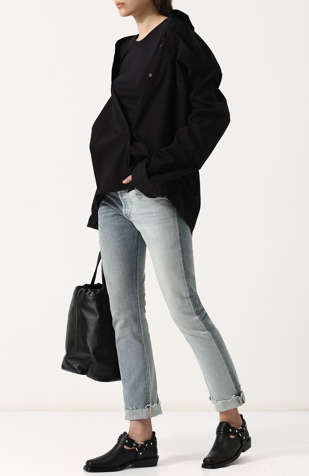 Женские кожаные ботинки с ремешками PACO RABANNE черного цвета, арт. 18PM0T0L03CAAFL   Фото 2 (Каблук высота: Низкий; Статус проверки: Проверено; Подошва: Плоская)