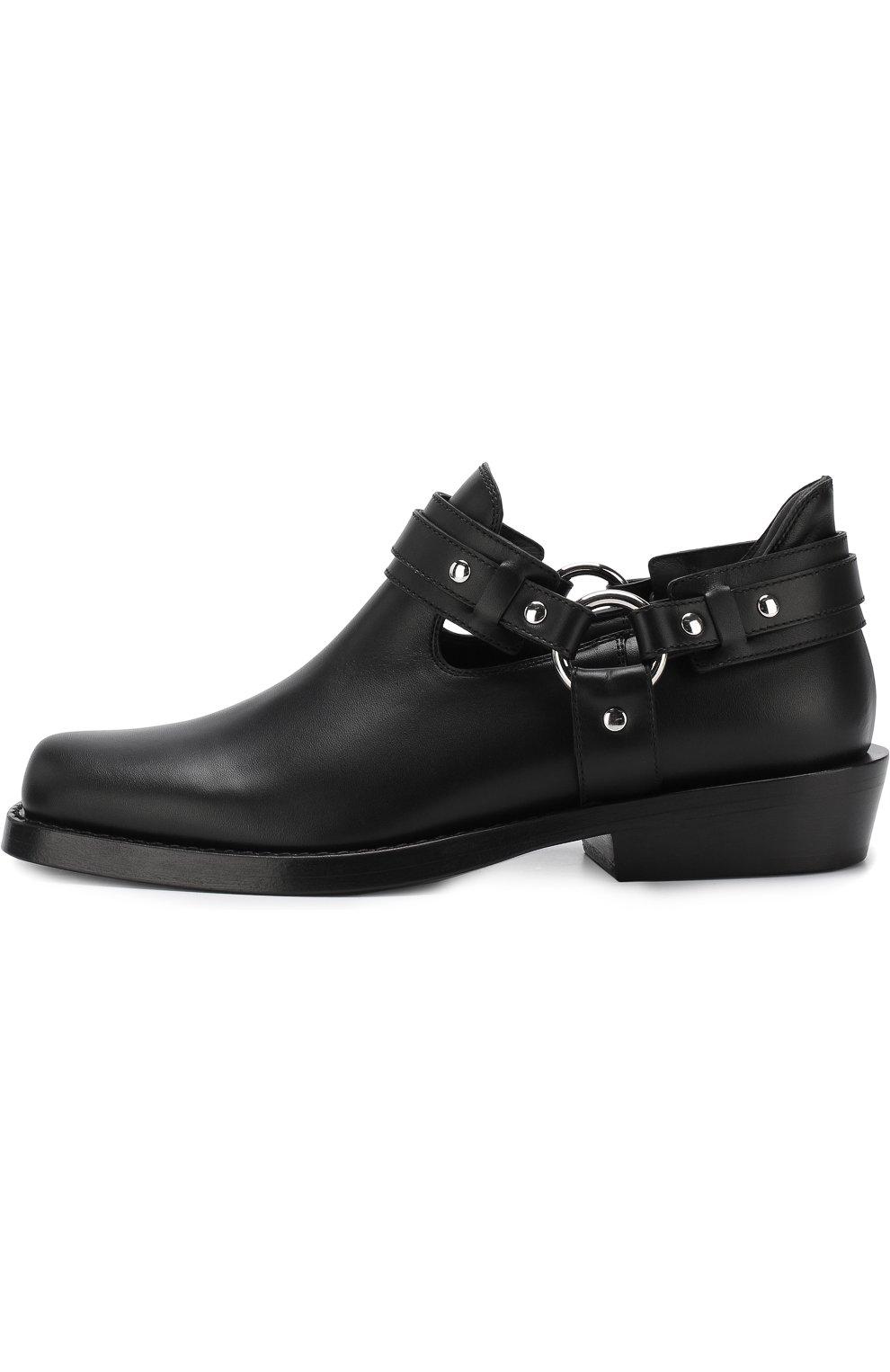 Женские кожаные ботинки с ремешками PACO RABANNE черного цвета, арт. 18PM0T0L03CAAFL   Фото 3 (Каблук высота: Низкий; Статус проверки: Проверено; Подошва: Плоская)