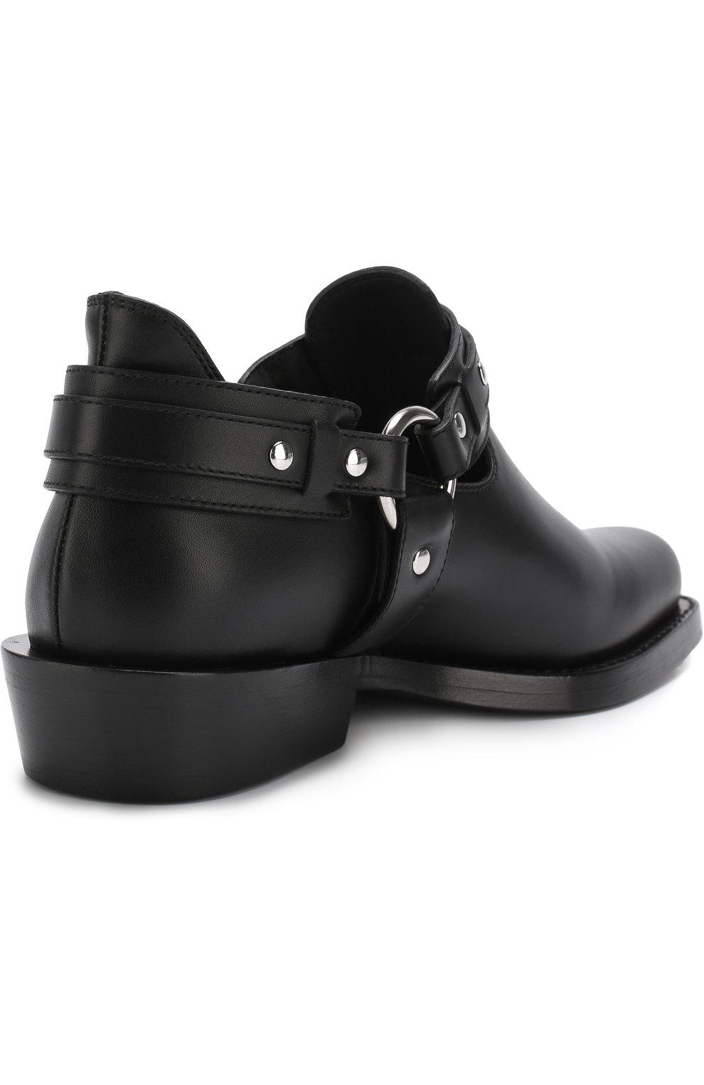 Женские кожаные ботинки с ремешками PACO RABANNE черного цвета, арт. 18PM0T0L03CAAFL   Фото 4 (Каблук высота: Низкий; Статус проверки: Проверено; Подошва: Плоская)
