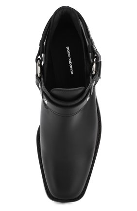 Женские кожаные ботинки с ремешками PACO RABANNE черного цвета, арт. 18PM0T0L03CAAFL   Фото 5 (Каблук высота: Низкий; Статус проверки: Проверено; Подошва: Плоская)