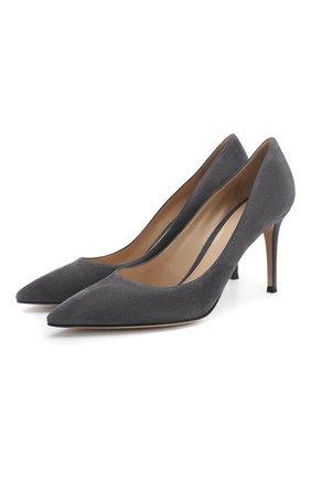 Женские замшевые туфли gianvito 85 на шпильке GIANVITO ROSSI темно-серого цвета, арт. G24580.85RIC.CAMLAPI   Фото 1