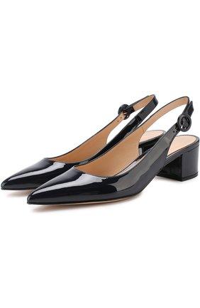 Лаковые туфли с ремешком на устойчивом каблуке | Фото №1