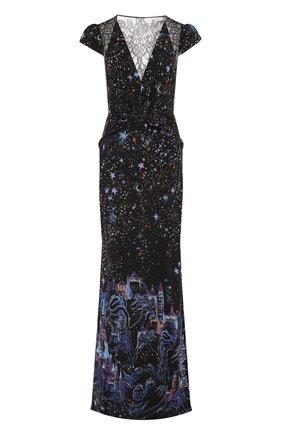 Платье-макси с кружевной отделкой и принтом | Фото №1