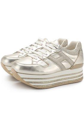 Кросcовки из металлизированной кожи на шнуровке   Фото №1