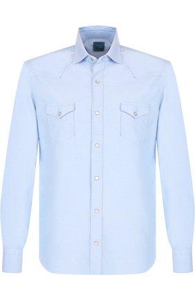 Хлопковая рубашка на кнопках с воротником кент Barba голубая   Фото №1
